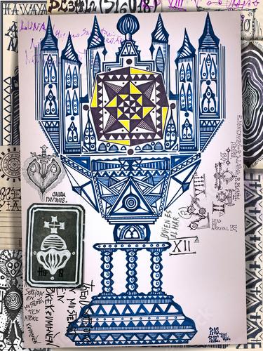 Fotobehang Imagination Asso di coppe dei tarocchi. Manoscritti, disegni e schizzi con segni e simboli esoterici,astrologici e alchemici