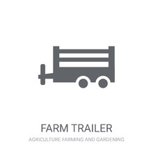 Farm Trailer Icon. Trendy Farm Trailer Logo Concept On White Background From Agriculture Farming And Gardening Collection