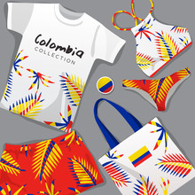Set Of National Beachwear : Colombia : Vector Illustration