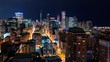 Time-lapse of the Chicago skyline at night with skycrapers