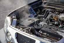 Car Engine Over Heat With No Water In Radiator And Cooling System.
