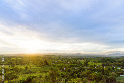 Spoed Foto op Canvas Blauwe hemel Landscape of cloudy, mountain and forest with sunset in the evening from top view.