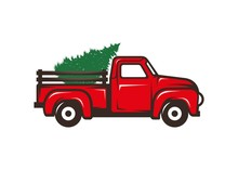 Antique Red Truck With Christm...