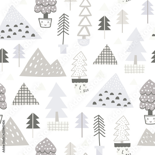 obraz lub plakat Baby seamless pattern - cute forest. Perfect for kids apparel, fabric, textile, nursery decoration, wrapping paper. Scandinavian style.