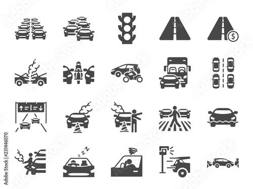 Obraz na płótnie Traffic jam icon set