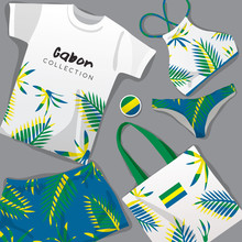 Set Of National Beachwear : Gabon : Vector Illustration