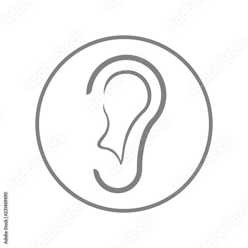 Valokuva  Ear icon. Hearing symbol. Vector.