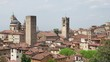Bergamo, Italy. The old town. Landscape at the city center, the old towers and the clock towers from the ancient fortress