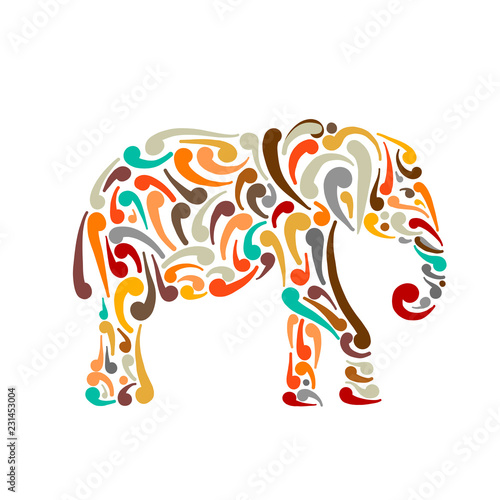 Elephant ornate, sketch for your design Canvas Print