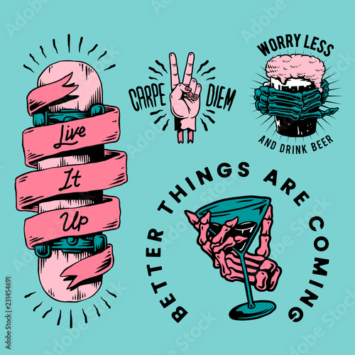 Cool retro motivational badges vector Wall mural