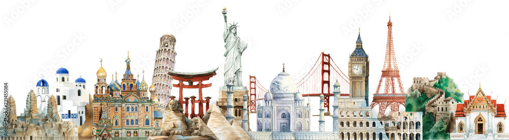Fototapety, obrazy: Collection of architectural landmarks painted by watercolor