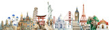 Collection of architectural landmarks painted by watercolor - 231455084