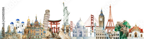 Photo  Collection of architectural landmarks painted by watercolor