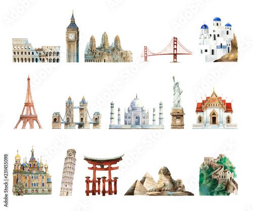 Obraz Collection of architectural landmarks painted by watercolor - fototapety do salonu