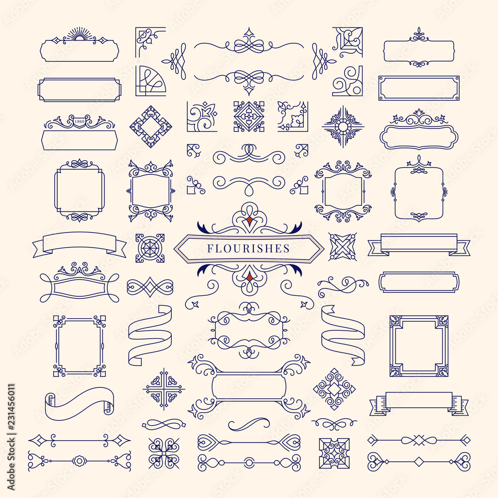 Fototapeta Collection of vintage ornament frame illustration