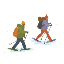 Man And Woman Winter Snowshoei...