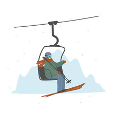 Man Skier In A Ski Lift Isolated Vector Illustration Graphic