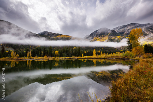 Aluminium Prints Autumn lake