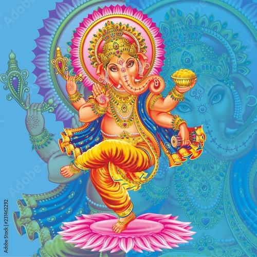 фотография dancing golden ganesh