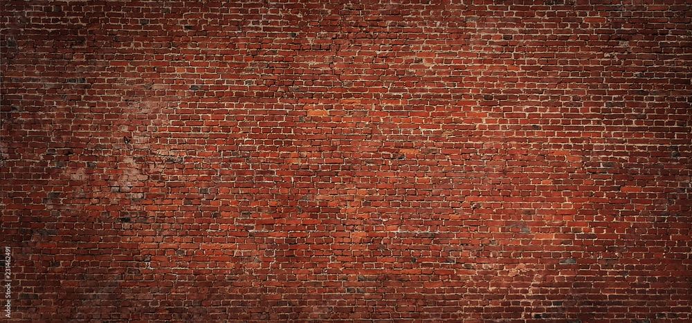 Fototapety, obrazy: Wide angle Vintage Red brick wall Background
