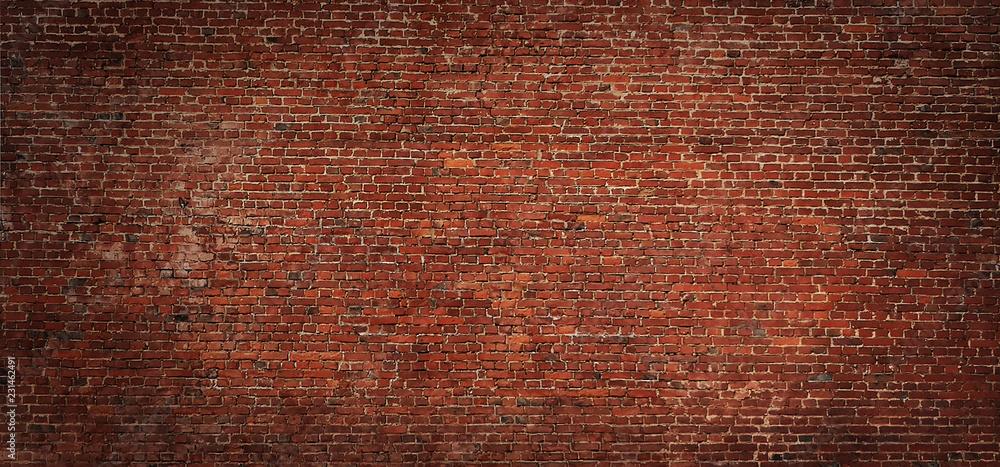 Fototapeta Wide angle Vintage Red brick wall Background