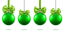 2019 Christmas Or New Year Realistic Toys With Bows Hanging On Chains. Merry Christmas Fir Tree Decorations, Green Baubles With Bow-knots, Green Spheres For Xmas Holidays. Celebration Theme