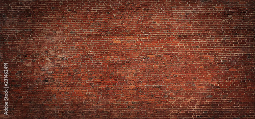 Fond de hotte en verre imprimé Brick wall Wide angle Vintage Red brick wall Background