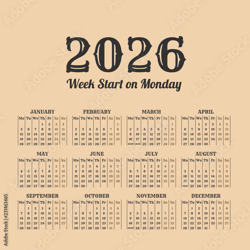 Fotografia  2026 year vintage calendar. Weeks start on monday