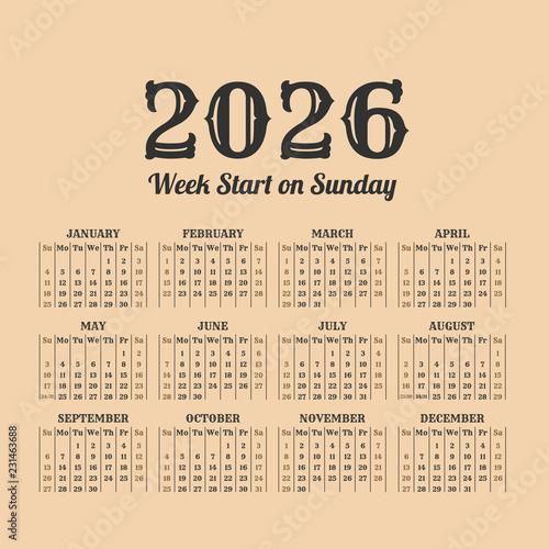 Fotografia  2026 year vintage calendar. Weeks start on sunday