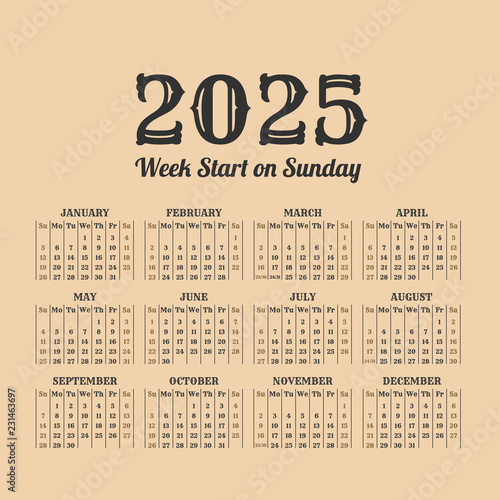 Fotografia  2025 year vintage calendar. Weeks start on sunday
