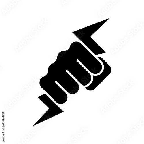 Photographie Hand holding lightning bolt glyph icon
