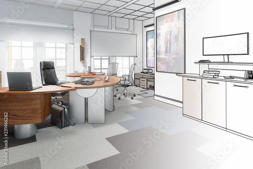 Staande foto Industrial geb. Executive Office 02 (drawing)