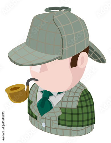 A Detective man avatar cartoon person icon emoji Canvas Print