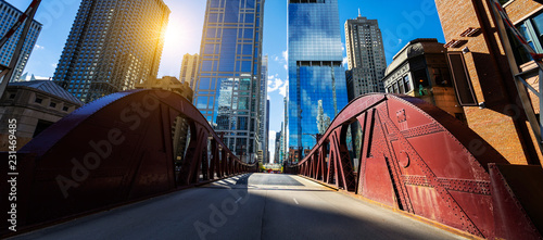 Fotografia, Obraz Chicago downtown bridge and buiding