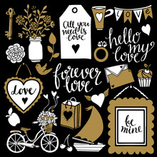 Valentines Day Hand Drawn Icons. Hand Written Font