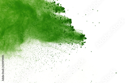 abstract powder splatted background,Freeze motion of green powder exploding/throwing green dust - 231470443
