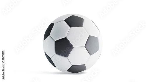 Photo  Blank white classic soccer ball mockup, looped rotation, 3d rendering