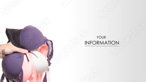 Obraz The bras in hand pattern on white background isolation - fototapety do salonu