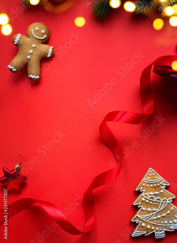 Spoed Foto op Canvas Wanddecoratie met eigen foto Christmas holidays ornament flat lay; Christmas decoration card background