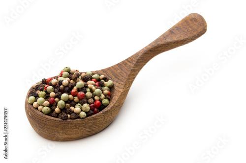 Keuken foto achterwand Aromatische Pepper mix seed on spoon on white background.
