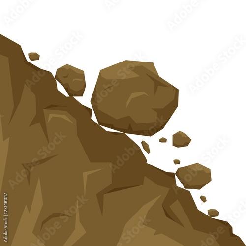 Fototapeta Landslide isolated on white background, stones fall from the rock