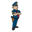 Cartoon Policeman Standing With Arms Crossed