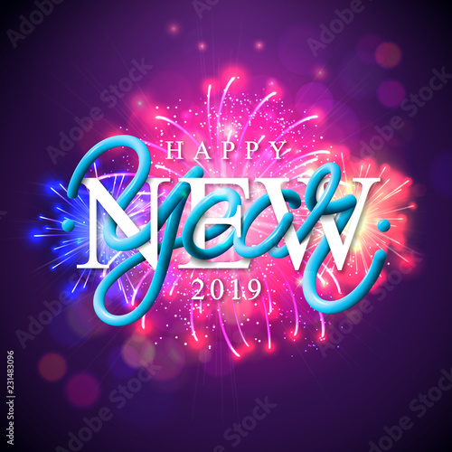 Happy New Year 2019 Illustration With Fireworks And 3d Typography