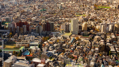 Poster Stad gebouw Panorama Japanese residence crowded area, aerial view Tokyo Japan