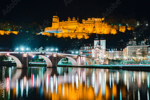 Poster Centraal Europa Heidelberg city panorama with Neckar river at night, Baden-Wurttemberg, Germany