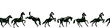 Equestrian seamless border with horse silhouette in various poses and motion. Vector pattern background or frame with hand drawing galloping black horses on white.