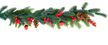 Christmas Garland On Isolated ...