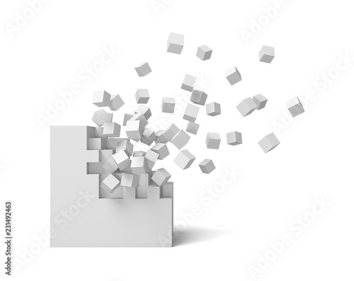 Foto 3d rendering of a white square on a white background starting to get destroyed piece by piece
