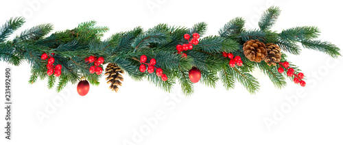 Fotografia Christmas garland on isolated white background