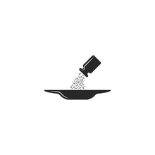 Salt Dripping From The Salt Shaker Into The Plate, Sprinkle Salt The Dish After Cooking Icon